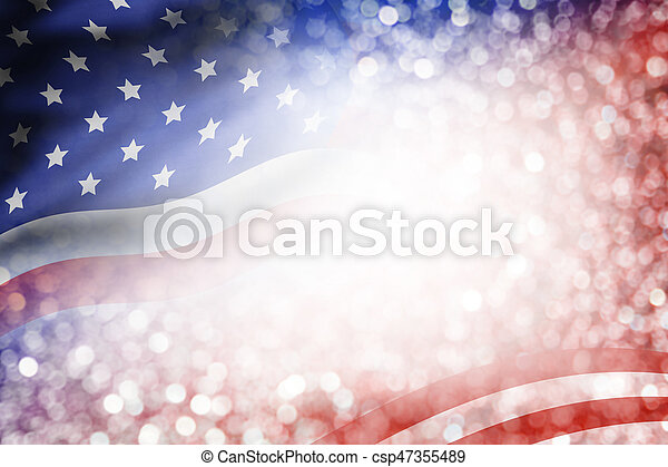 USA flag and bokeh background with copy space for 4 july independence day and other celebration - csp47355489
