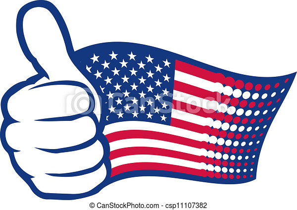USA flag and hand showing thumbs up - csp11107382