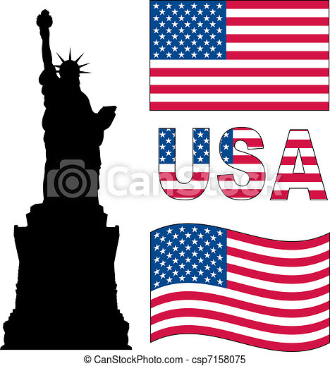 usa flag and statue of liberty vector
