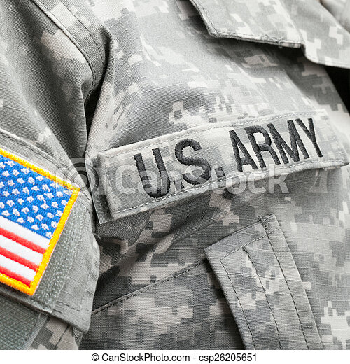USA flag and U.S. Army patch on solder's uniform - csp26205651