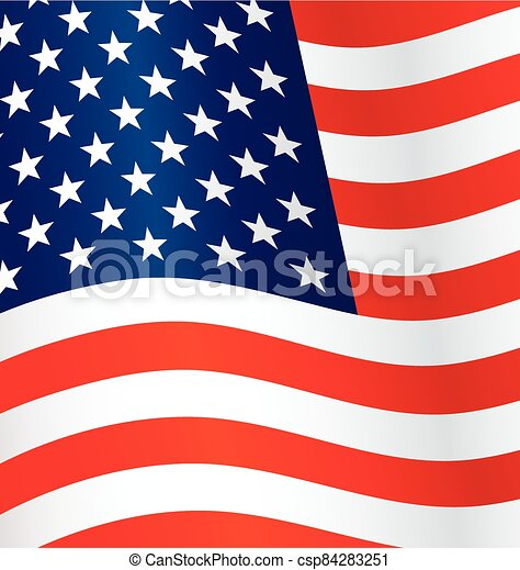 usa flag flying waving background vector - csp84283251