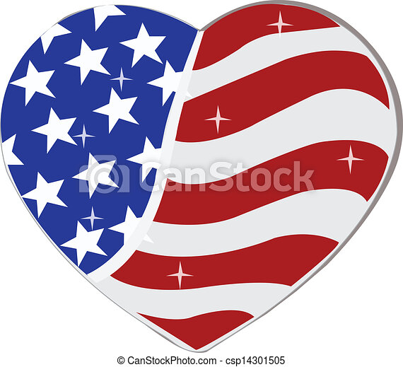 usa flag in heart shape usa flag in heart shape can be use in rh canstockphoto com USA Vector American Flag Heart Vector