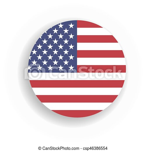 Usa Flag Int He Circle With Dropped Shadow United States Of America