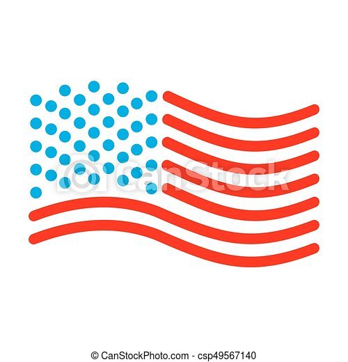 Usa Flag Linear Style Sign Of State United States Symbol Of America