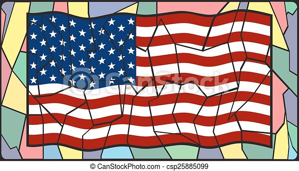 Stained Glass American Flag.U S A Flag On Stained Glass
