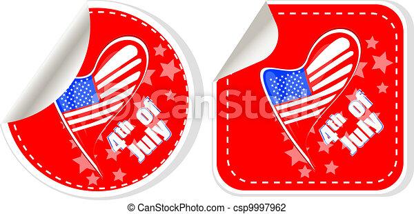 USA flag sign label stickers set - csp9997962