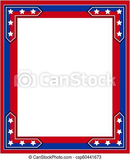 Usa flag symbolism patriotic border. American abstract flag symbolic ...