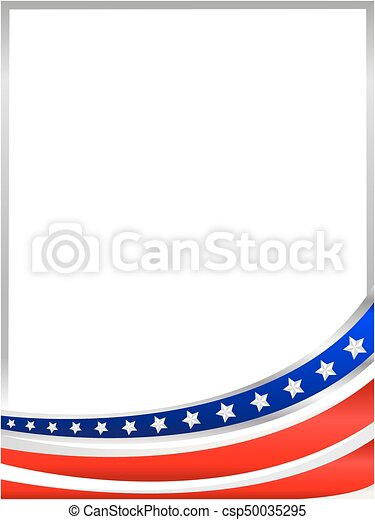 Usa flag wave frame. Usa flag wave from the bottom frame with empty ...