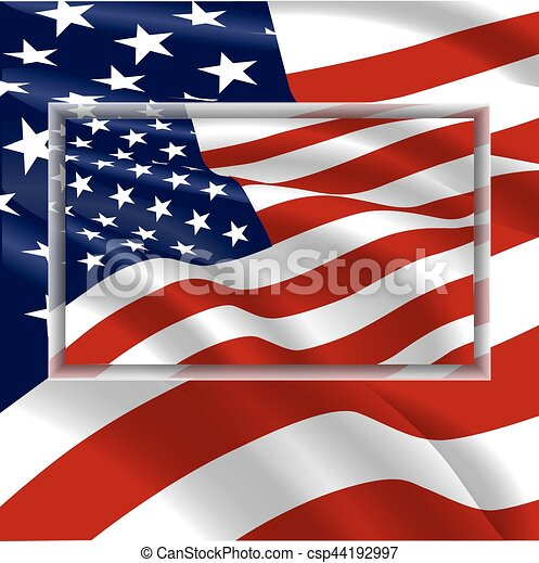 USA flag waving in the wind - csp44192997