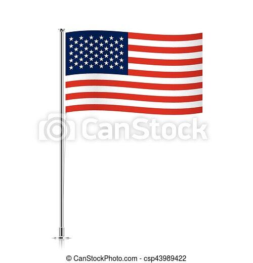 USA flag waving on a metallic pole. - csp43989422