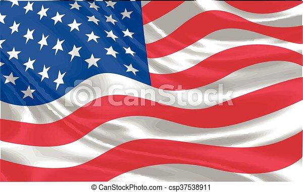 USA Flag waving vector - csp37538911