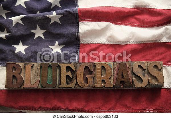 USA flag with bluegrass word - csp5803133