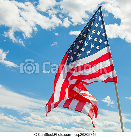 USA flag with clouds on background - outdoors shoot - csp26205745