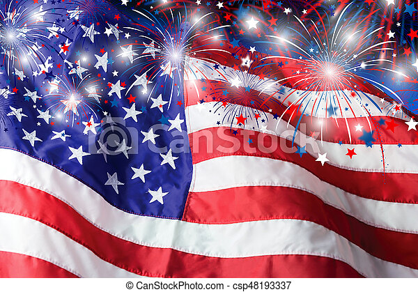 usa flag with fireworks background for 4 july independence day csp48193337