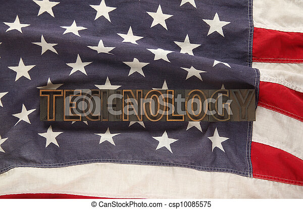 USA flag with the word technology - csp10085575