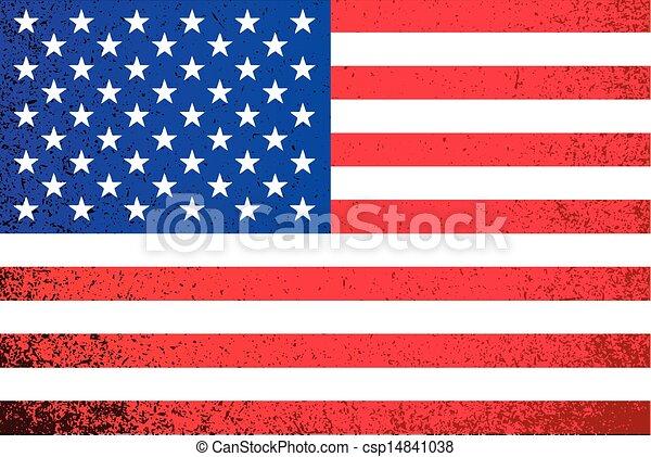 USA. grunge American flag illustration - csp14841038