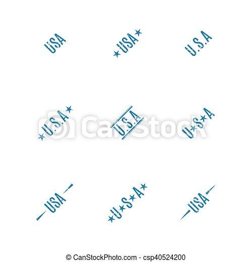 USA grunge stamps, vector illustration. - csp40524200
