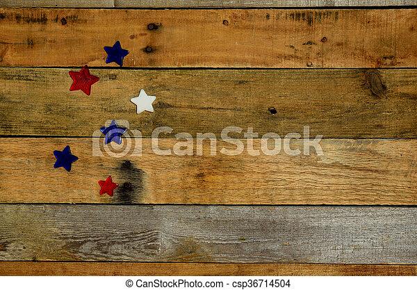 USA Holiday stars on pallet wood  - csp36714504