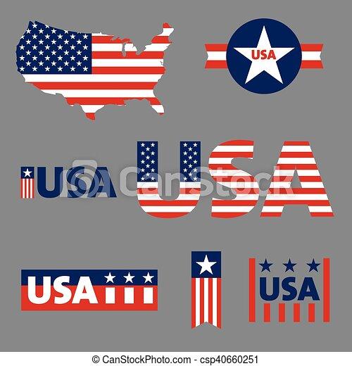 USA labels, sign, tag vector set - csp40660251