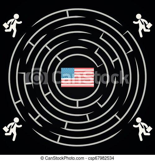 usa, labyrint, winnen, -, verkiezingen, competitie, verkiezing, woning, witte , presidentieel - csp67982534