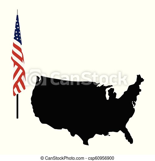 Usa map and flag icon. Vector illustration map of united states of ...