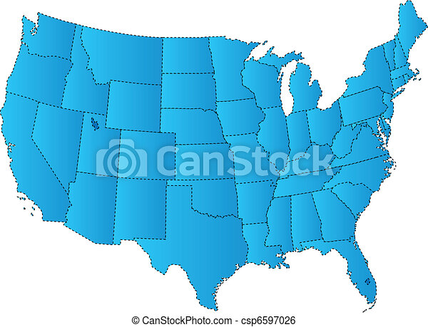 Line Art Usa Map : Usa map blue of fifty states clip art vector search