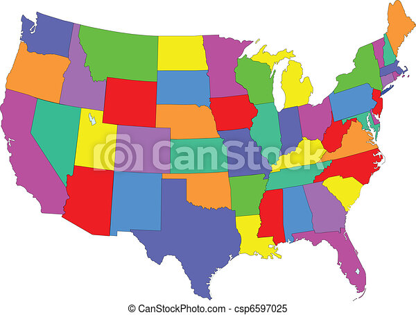 Usa map colored Map of usa fifty states clipart vector Search