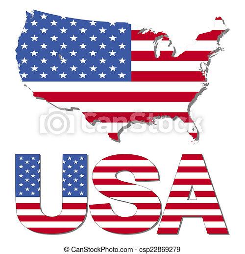 Usa map flag and text illustration.