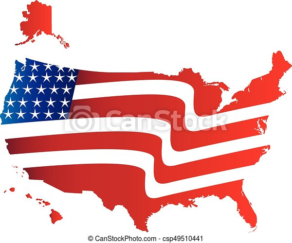 Usa map flag colors. Usa flag map isolated on white.