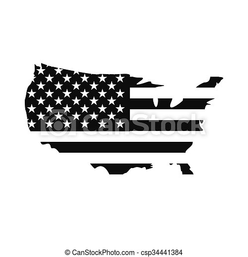 Usa map flag icon. Usa map flag icon. black simple style.
