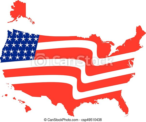 Usa map flag logo. Us american flag map with flag illustration icon ...