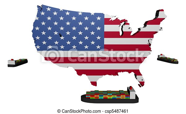 Usa map flag with ships illustration. Usa map flag with container ...