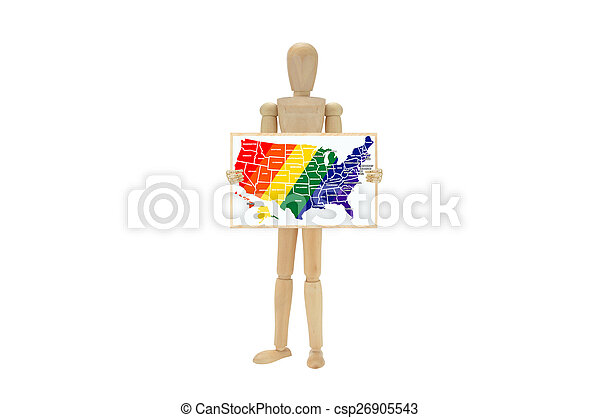 USA Map Gay Pride colors - csp26905543