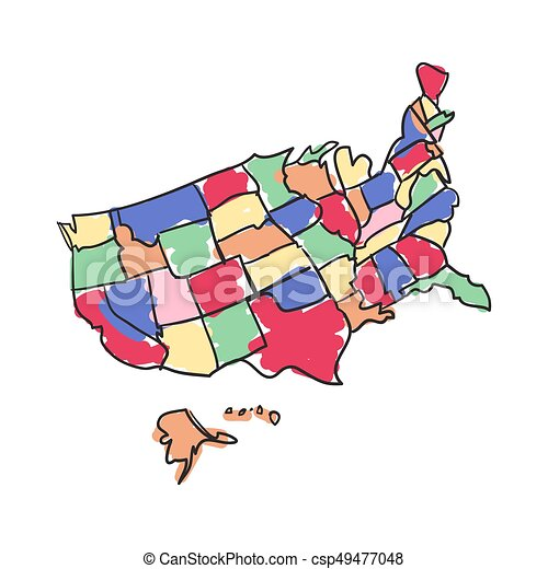 Usa map hand drawn icon isolated on white background vector ...
