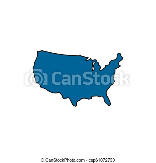 Usa map icon, cartoon style. Usa map icon. cartoon usa map vector ...
