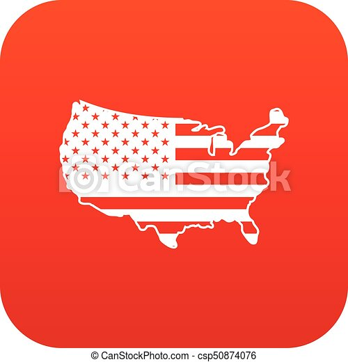 USA map icon digital red - csp50874076