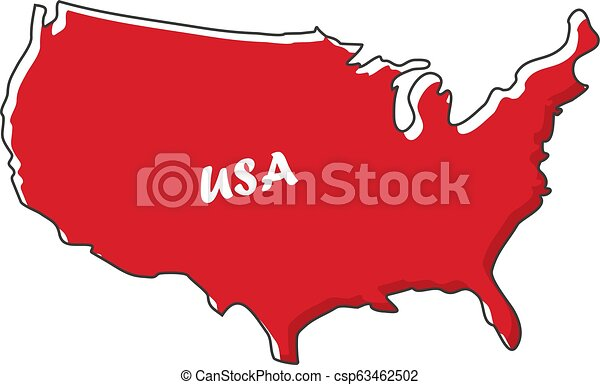 Usa Map Icon In A Flat Design Vector Illustration