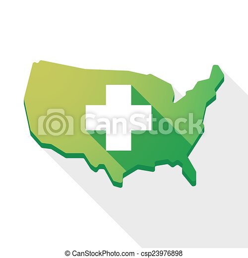 USA map icon with a pharmacy sign - csp23976898