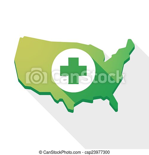 USA map icon with a pharmacy sign - csp23977300