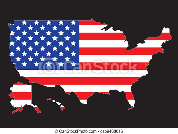 USA map outline with United States flag vector illustration clip