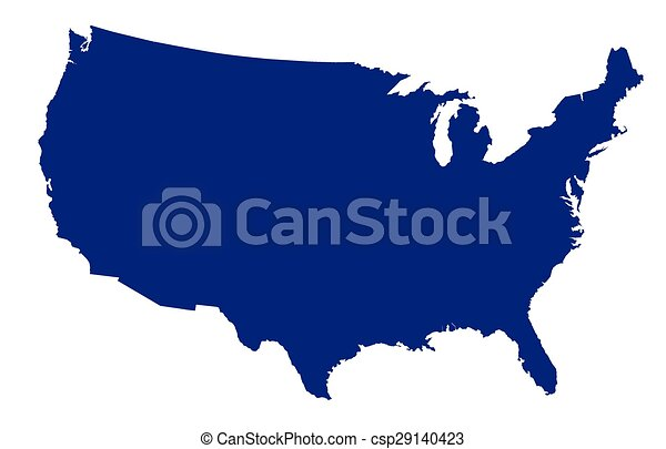 Line Art Usa Map : Usa map silhouette an outline of the united