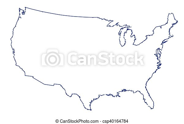 Usa map thinline outline. An outline silhouette map of the united ...