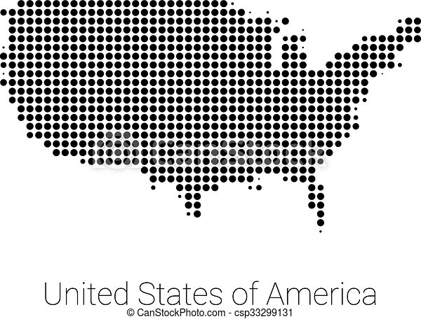 Usa map vector black dotted design. Usa border map with black dots ...