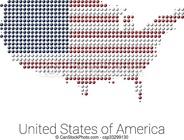 Usa map vector color dotted design. Usa border map with flag colors ...
