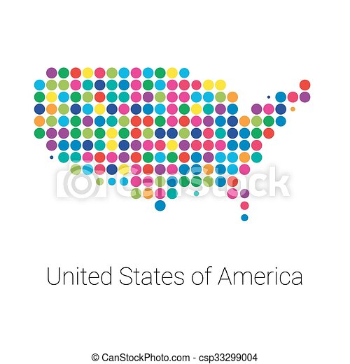 Vector Clipart Of USA Map Vector Colored Dotted Design USA - Colored usa map