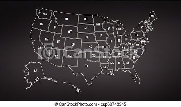 Usa Map With Alaska And Hawaii Map Separate States Individual Names