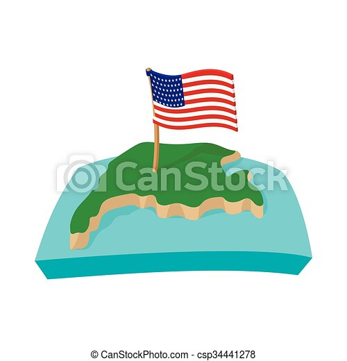 usa map with flag icon cartoon style csp34441278