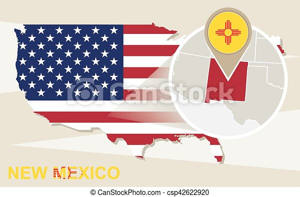 USA map with magnified New Mexico State. New Mexico flag and map. Usa Map Clip Art Ny on nc map clip art, nyc map clip art, maine map clip art, va map clip art, connecticut map clip art, wv map clip art, sc map clip art, north dakota map clip art, az map clip art, tn map clip art, ca map clip art,