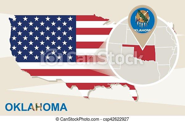 Usa map with magnified oklahoma state. oklahoma flag and map.
