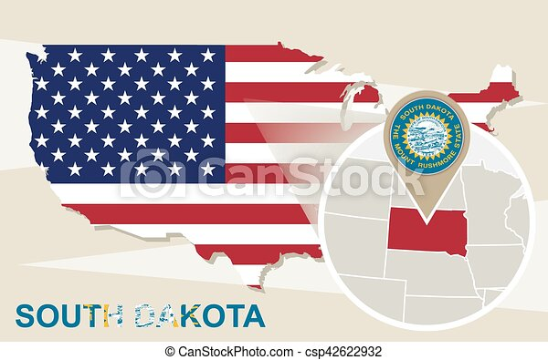 Vectors Of USA Map With Magnified South Dakota State South Dakota - South dakota us map